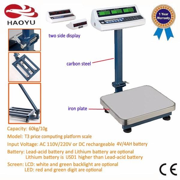 T3 Double-Side Display Indicator Carbon Steel Frame Platform Scale