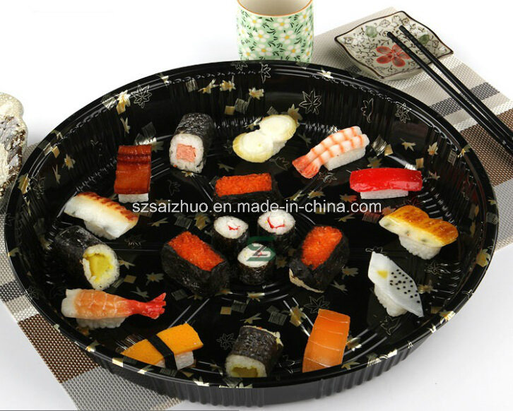 Round Floral Printed Top Grade Disposable Plastic Sushi Tray (S65R)