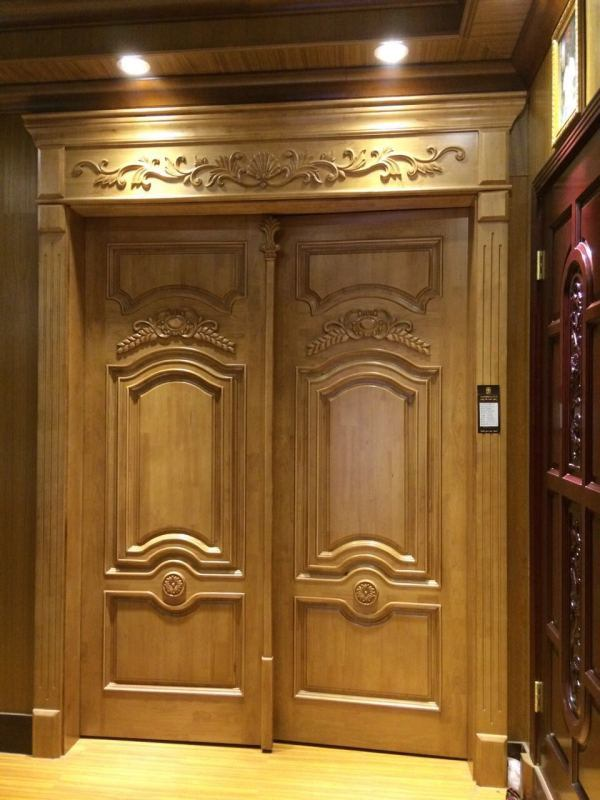 European Style Double Wood Door with Carving for Villa (DS-9010)