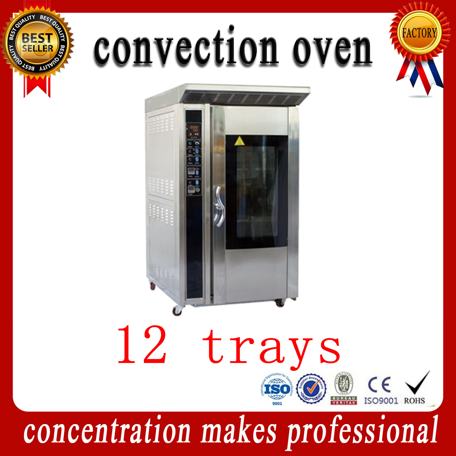 Ykz-12 Commercial Stainless Steel Convection Oven Bakery Equipment with Ce