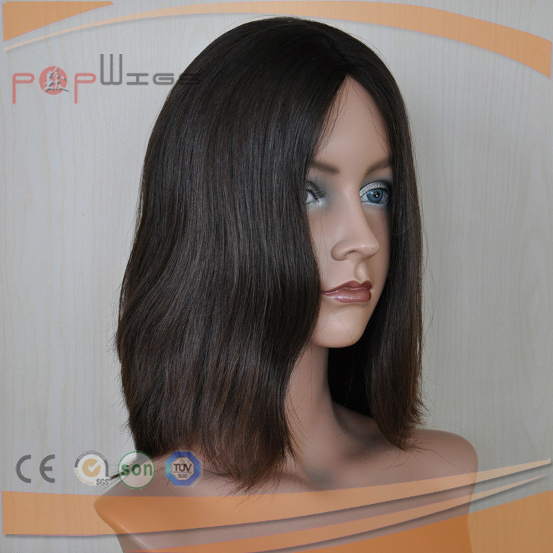 Short Women Human Virgin Hair Silk Top Wigs