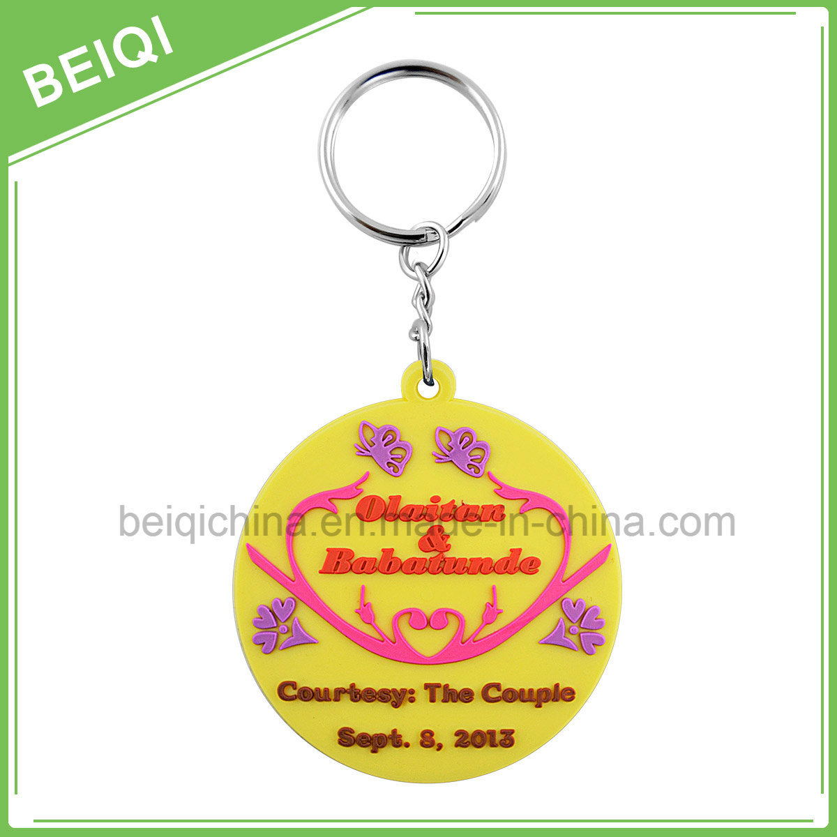 Wholesale Custom 3D PVC Key Holder with Metal Ring