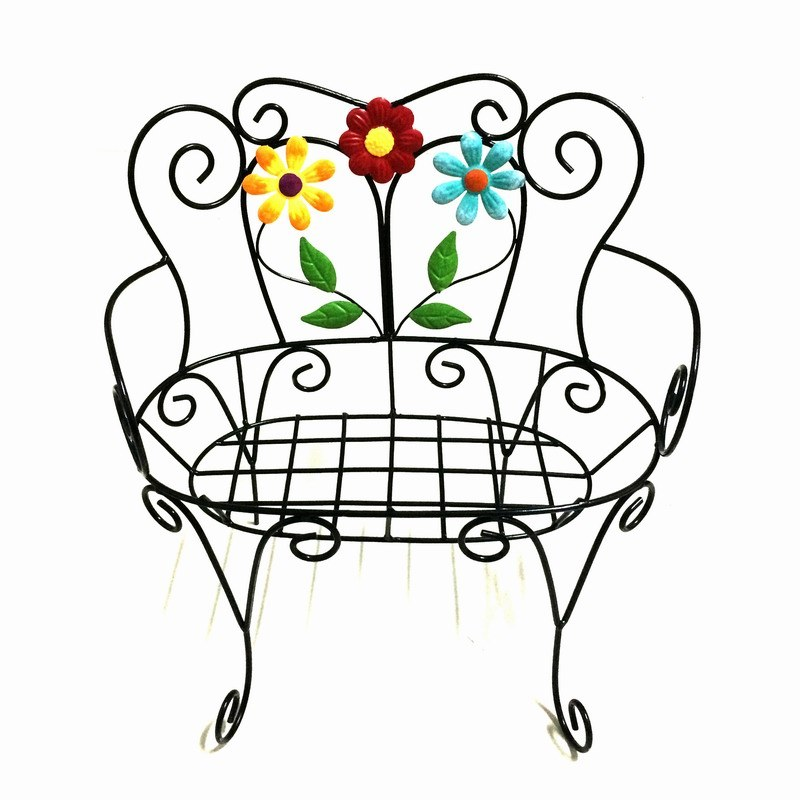 Garden Decoration Metal Flower Chair Flowerpot Stand