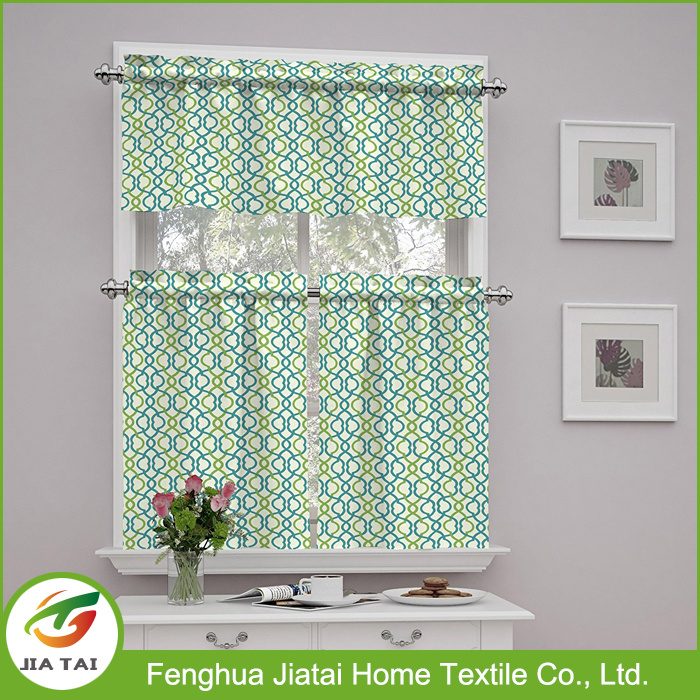 New Curtain Design Kitchen Polyester Kitchen Window Curtain with Custom Patterns