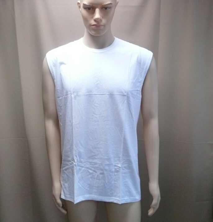 100% Cotton White Vest for Man Stock