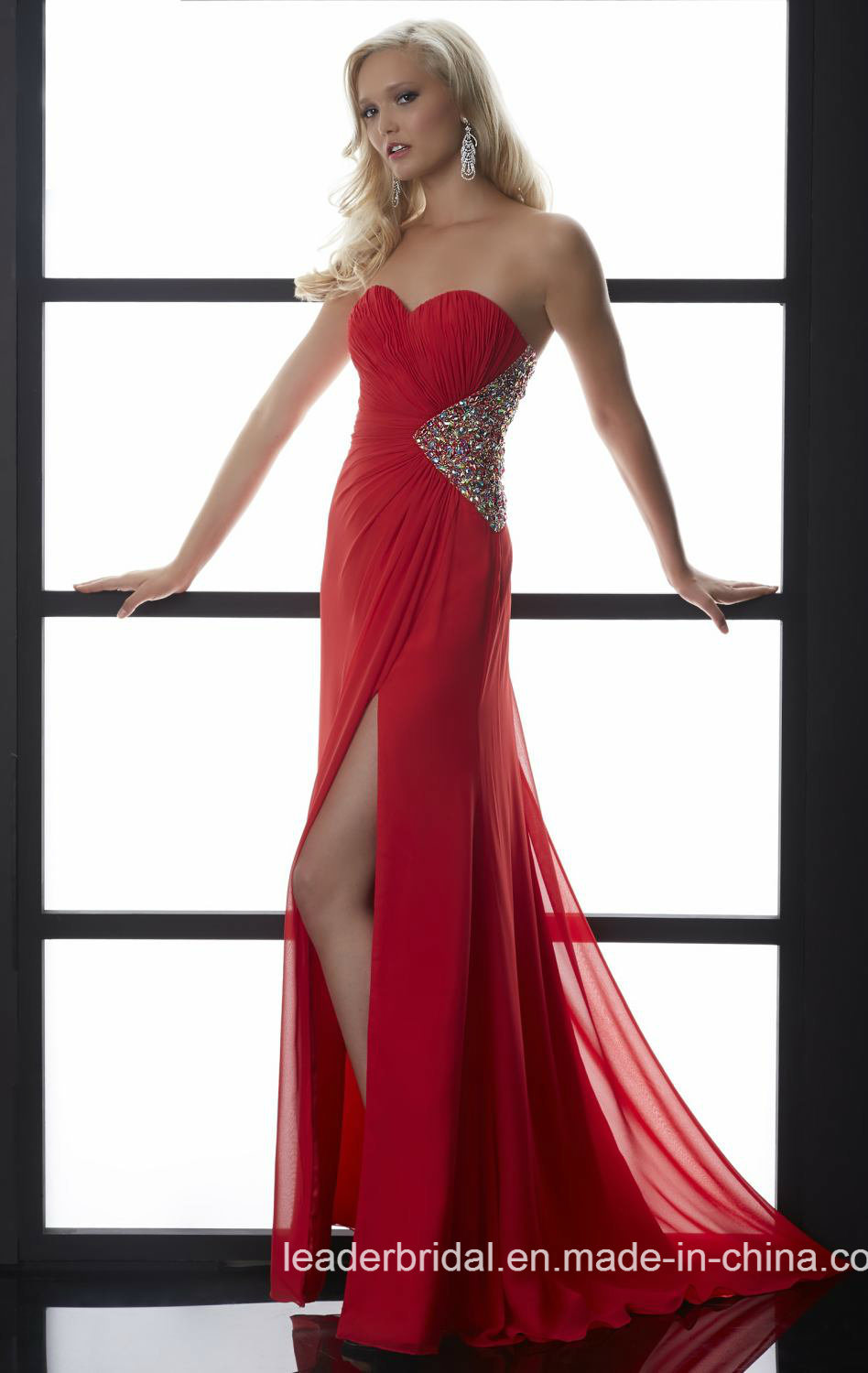 Jewelry Back Party Dress White Red Prom Evening Gowns Bz814