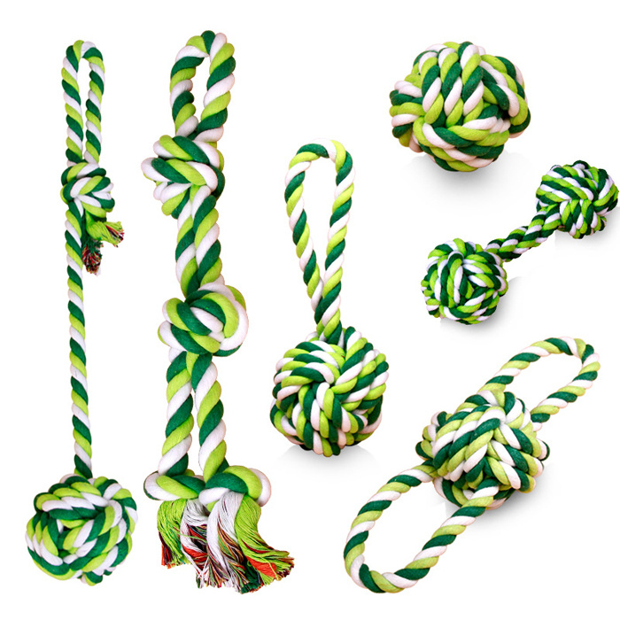 Set of 5 Cotton Rope Chew Toy Knot Rope Dog Tug Toys for Chewing Tugging Playing