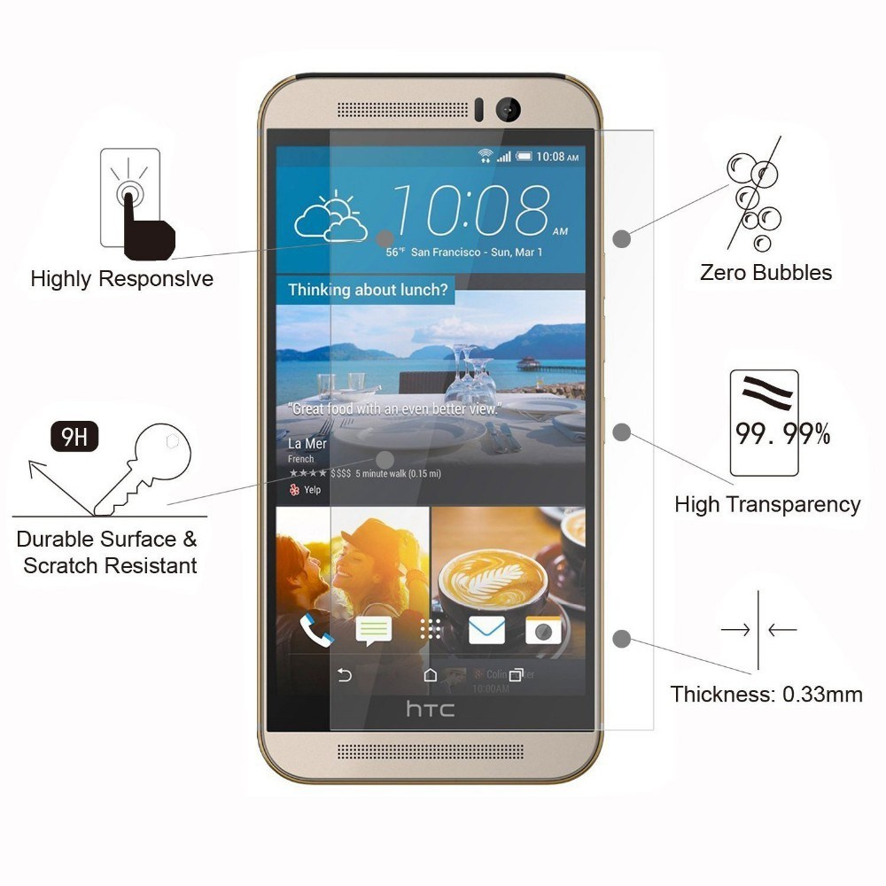 Tempered Glass/ Screen Protector for HTC U Ultra One M10 /M9 / M8/ M7 /X9/ A9/E9