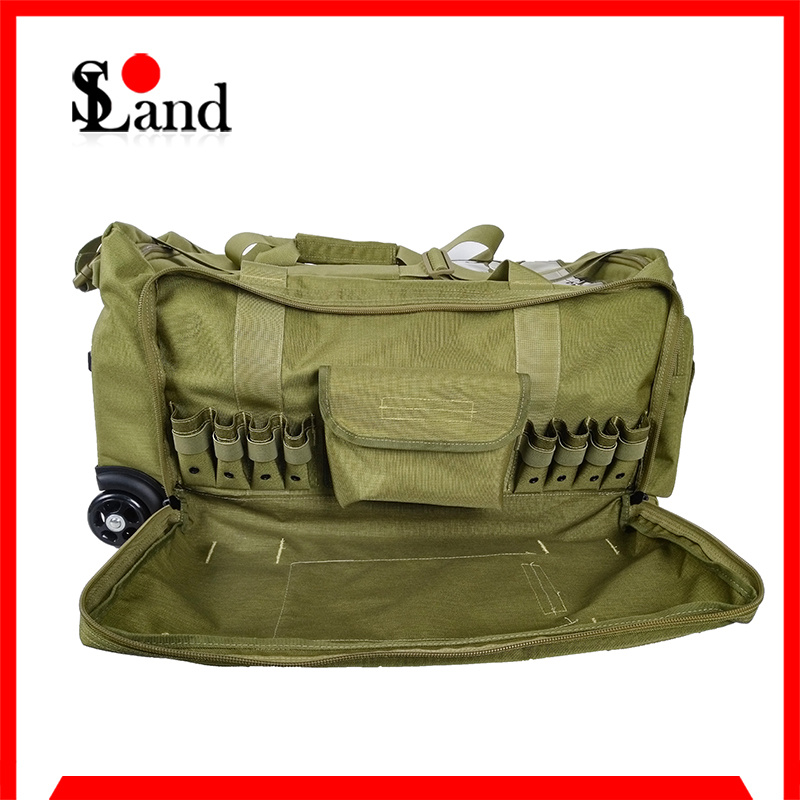 Green Cordura Fabric Military Equipment Wheeled Bag