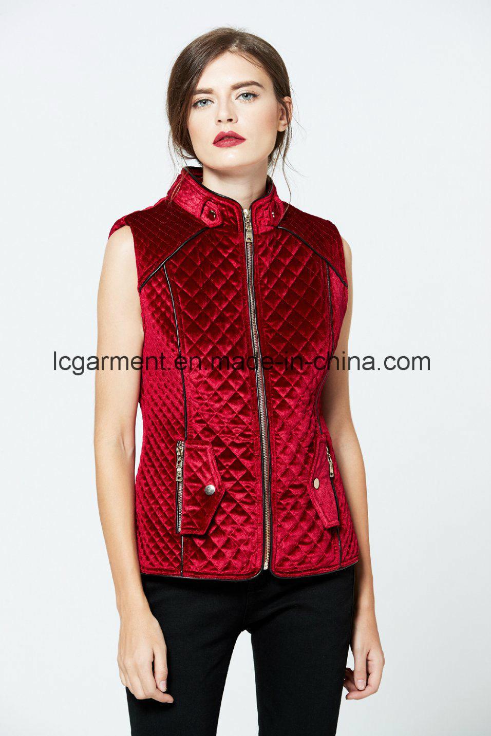 Hot Sale Fashion Faux Suede Red Leather Vest Zipper Woman Waistcoat