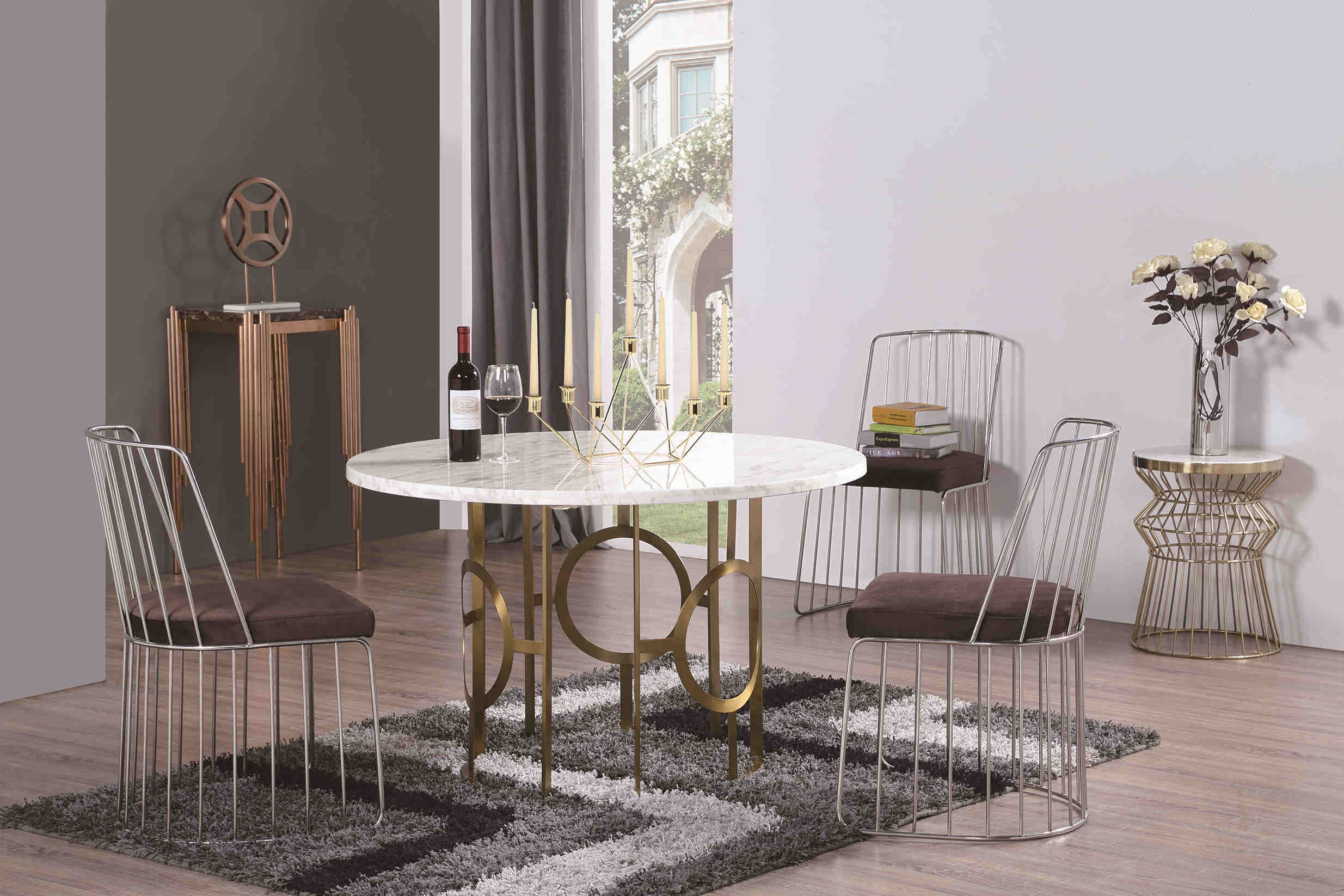 Six Sets Marble Dining Table with Steel Legs