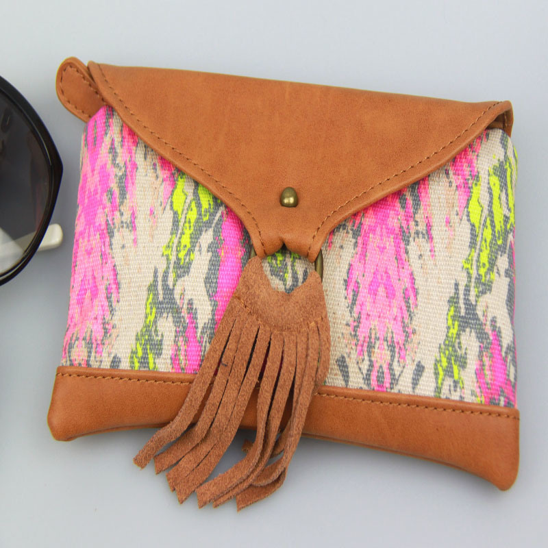 Boho Canvas Contrast PU Purse, Multicolor Women Canvas Wallet Fashion Accessory