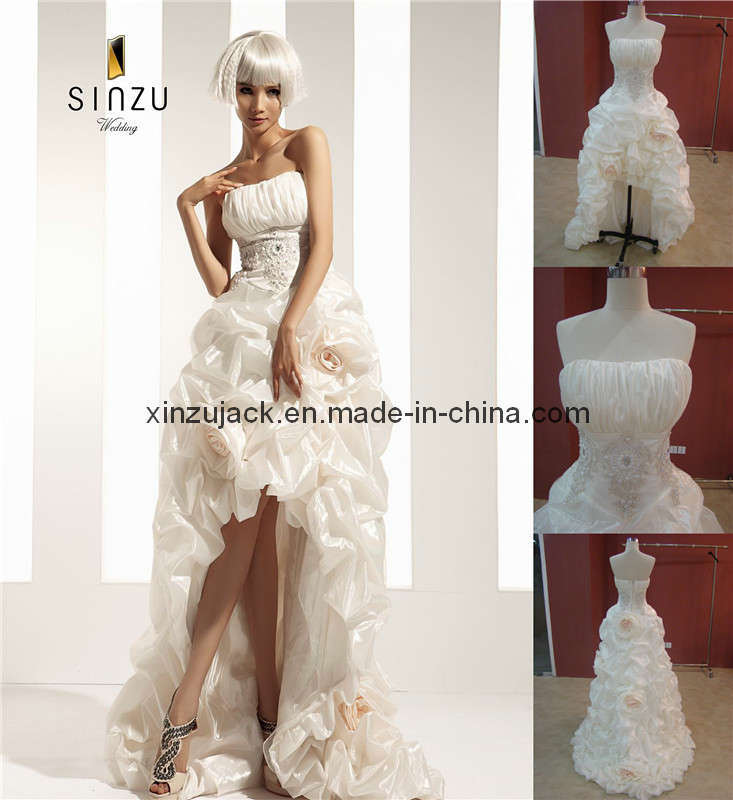 China Short Front Long Back Strapless Wedding Dress T10296 Photos Pic
