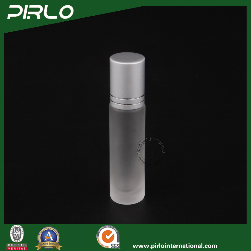 10ml Frosted Glass Roll on Bottle with Metal Roller and Silver Cap