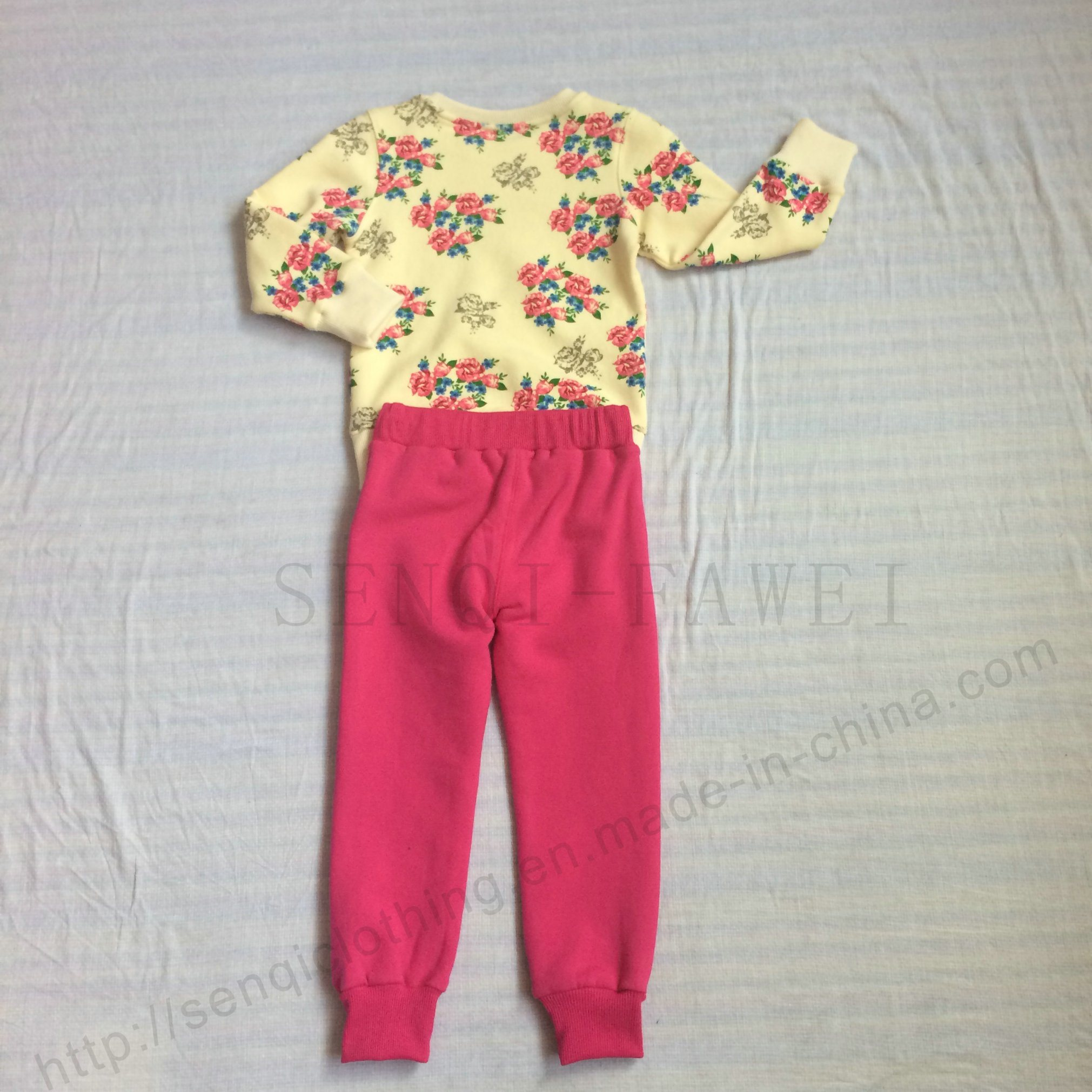 Girl Fleece Kids Flower Print 2 PCS Suits Clothes in Childen Sport Clothing Sq-6213