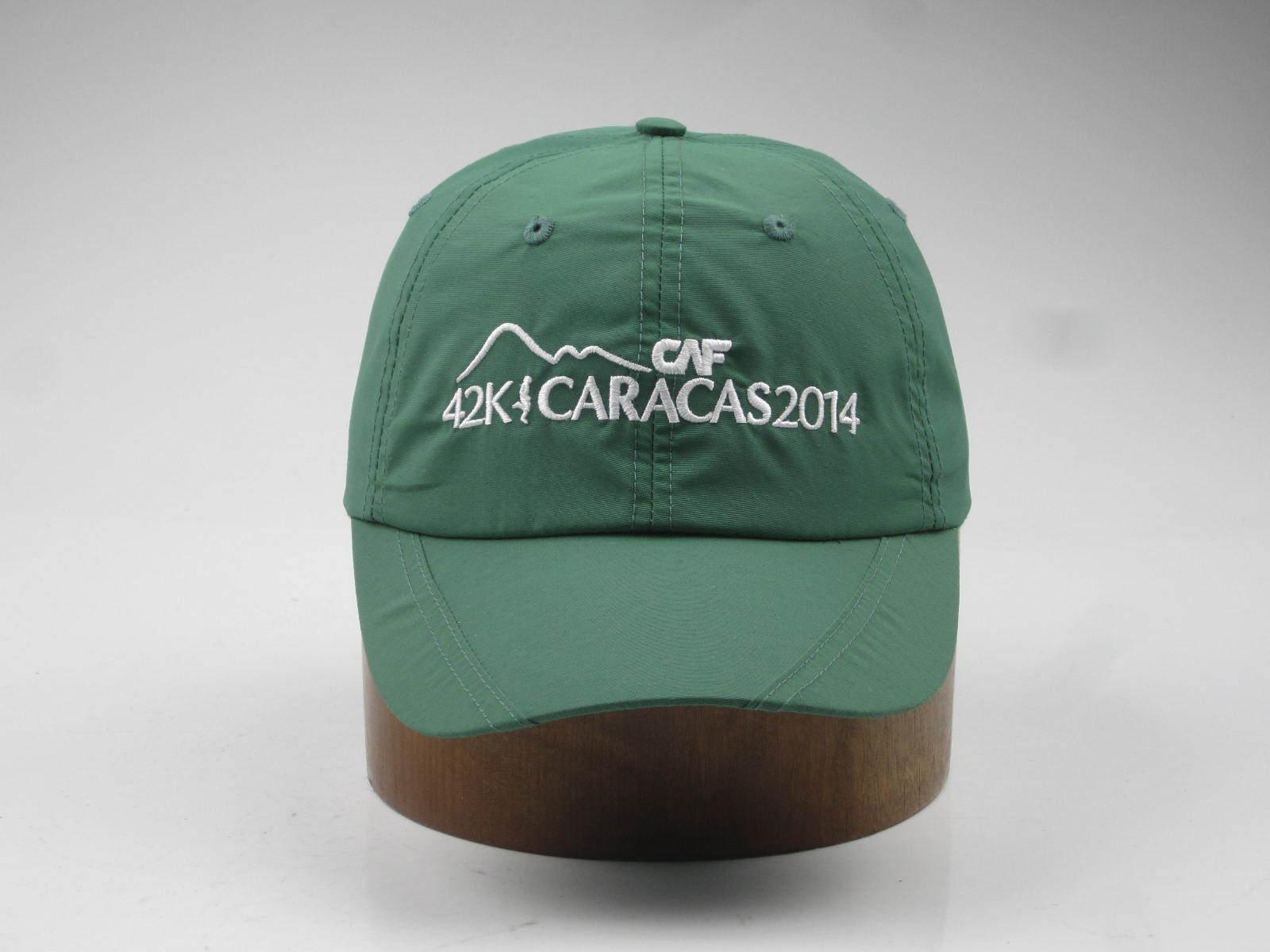 Green Color Nylon Fabric Soft Panel Sports Cap