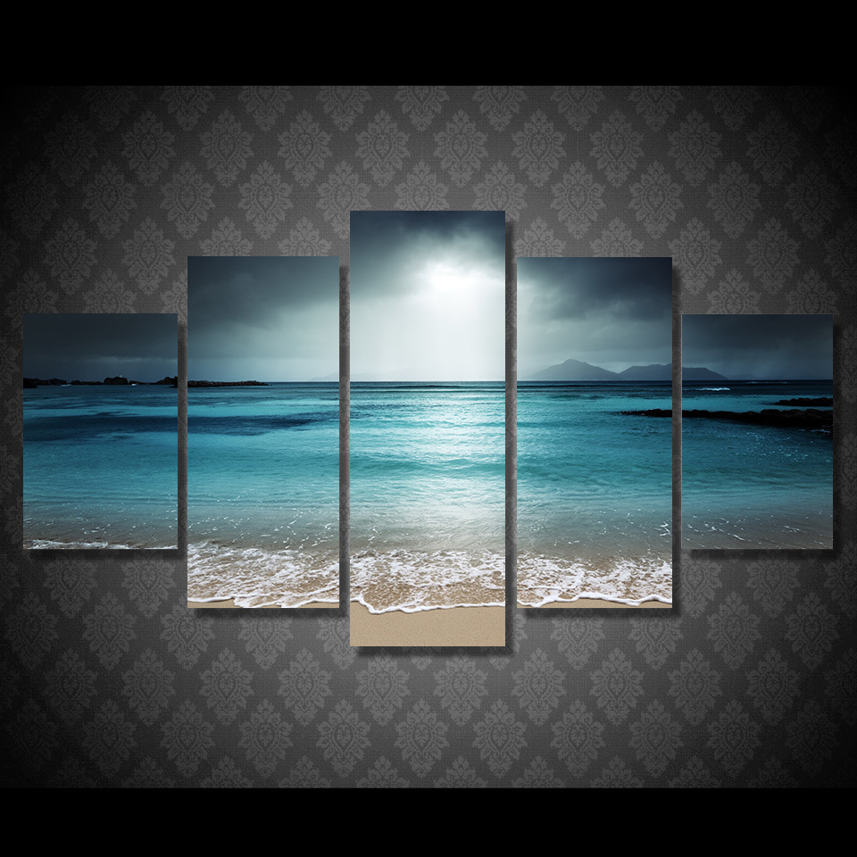 HD Printed Beach Ocean Sea Sunset Painting Canvas Print Room Decor Print Poster Picture Canvas Mc-093