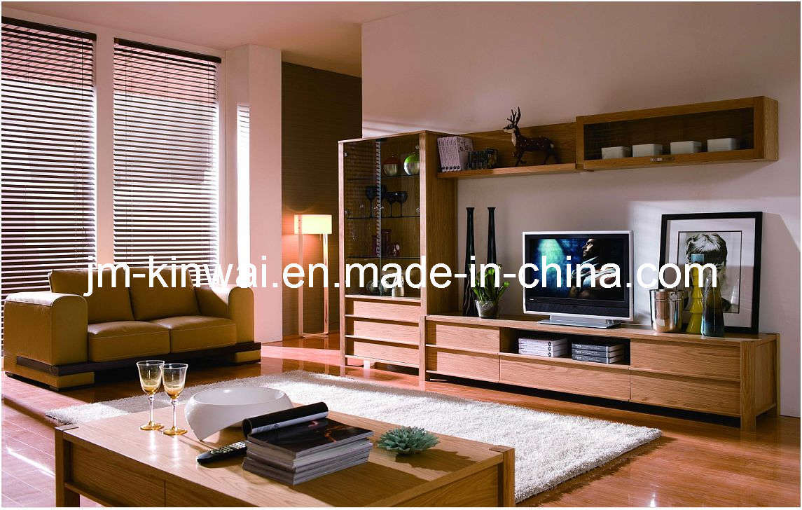 China oak solid wood tv unit living room furniture china for Wooden living room furniture