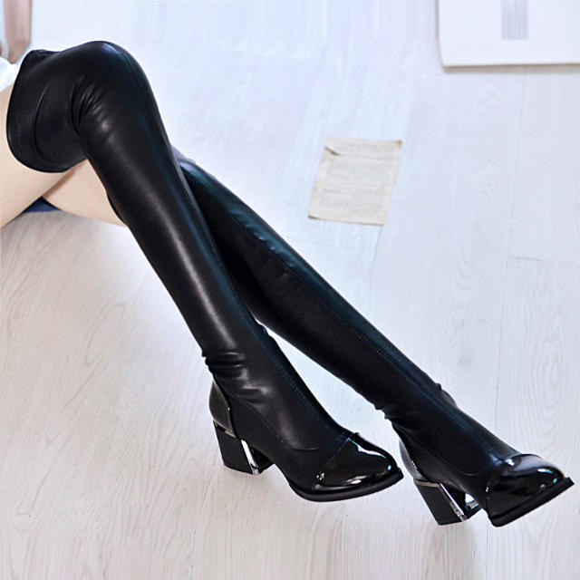 New Knee Boots Pointed MID Heel Overlength PU Leather Boots Fashion Knight Boots