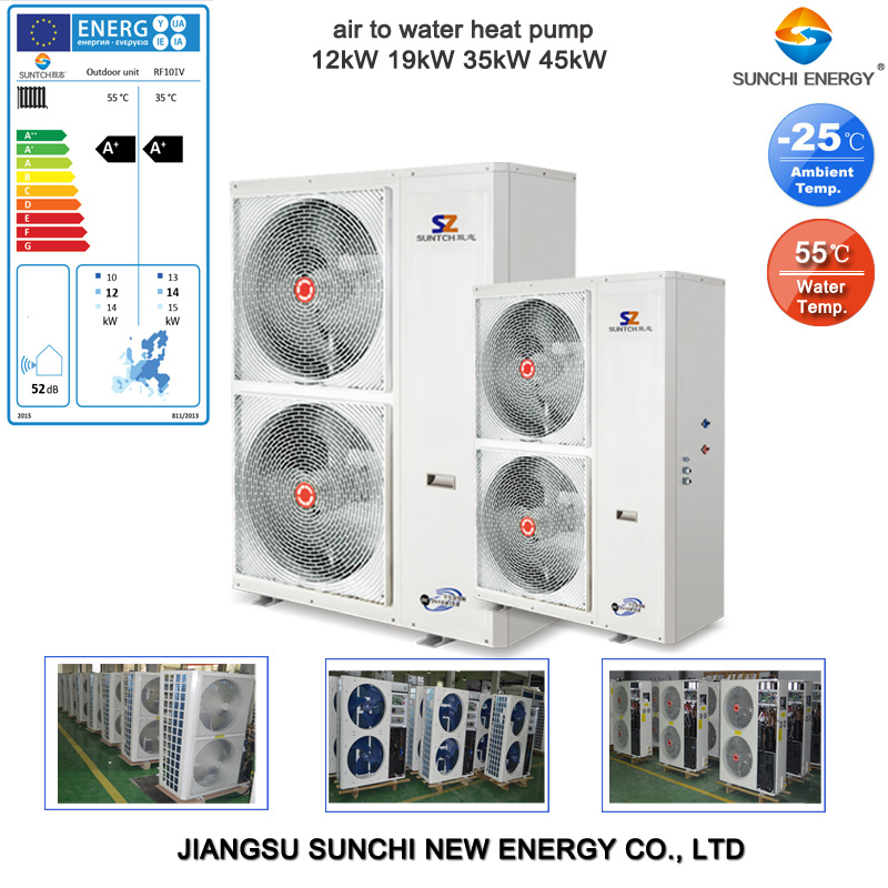 CE, TUV, Australia Certificate 220V R410A 3kw, 5kw, 7kw, 9kw Cop4.2, Max 60deg. C Shower Dhw Tankless Air Water Heat Pump Split System