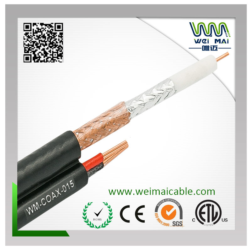 20AWG Bc 95%CCA Braiding Rg59 Siamese Coaxial Cable
