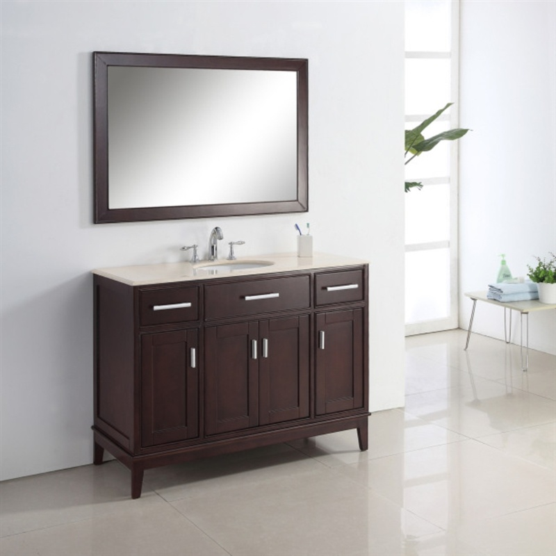 Single Sink Wooden Bathroom Vanity with Side Cabinet