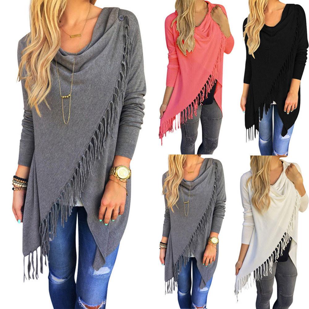 Women′s Long Sleeve Pure Color Tassel Slash Blouse Tops Shirt