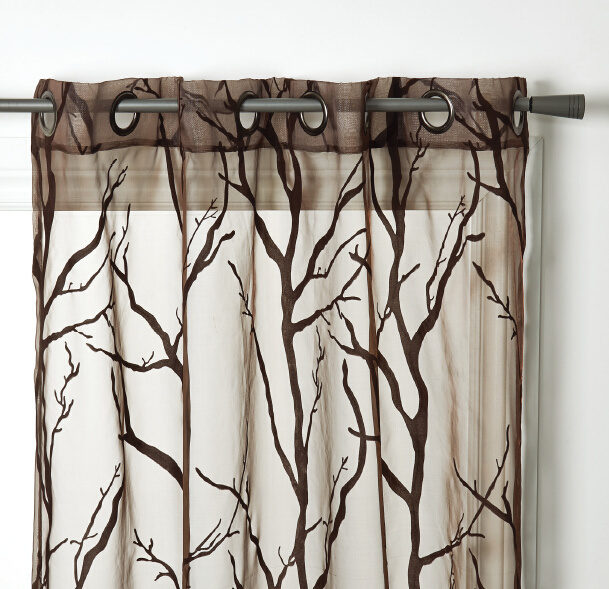 Flocked Voile Grommet Window Curtain