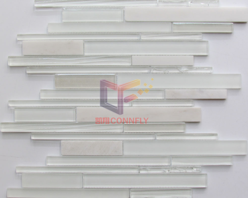 Strip Style Marble Stone with Crystal Mosaic Tiles (CFS678)