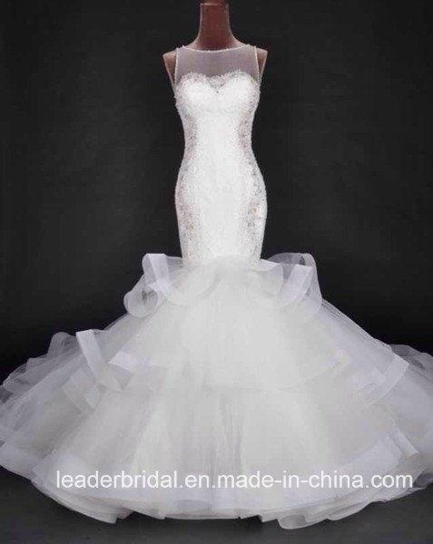 Mermaid Wedding Dress Ruffled Organza Beading Lace Custom Made Bridal Gowns A1767