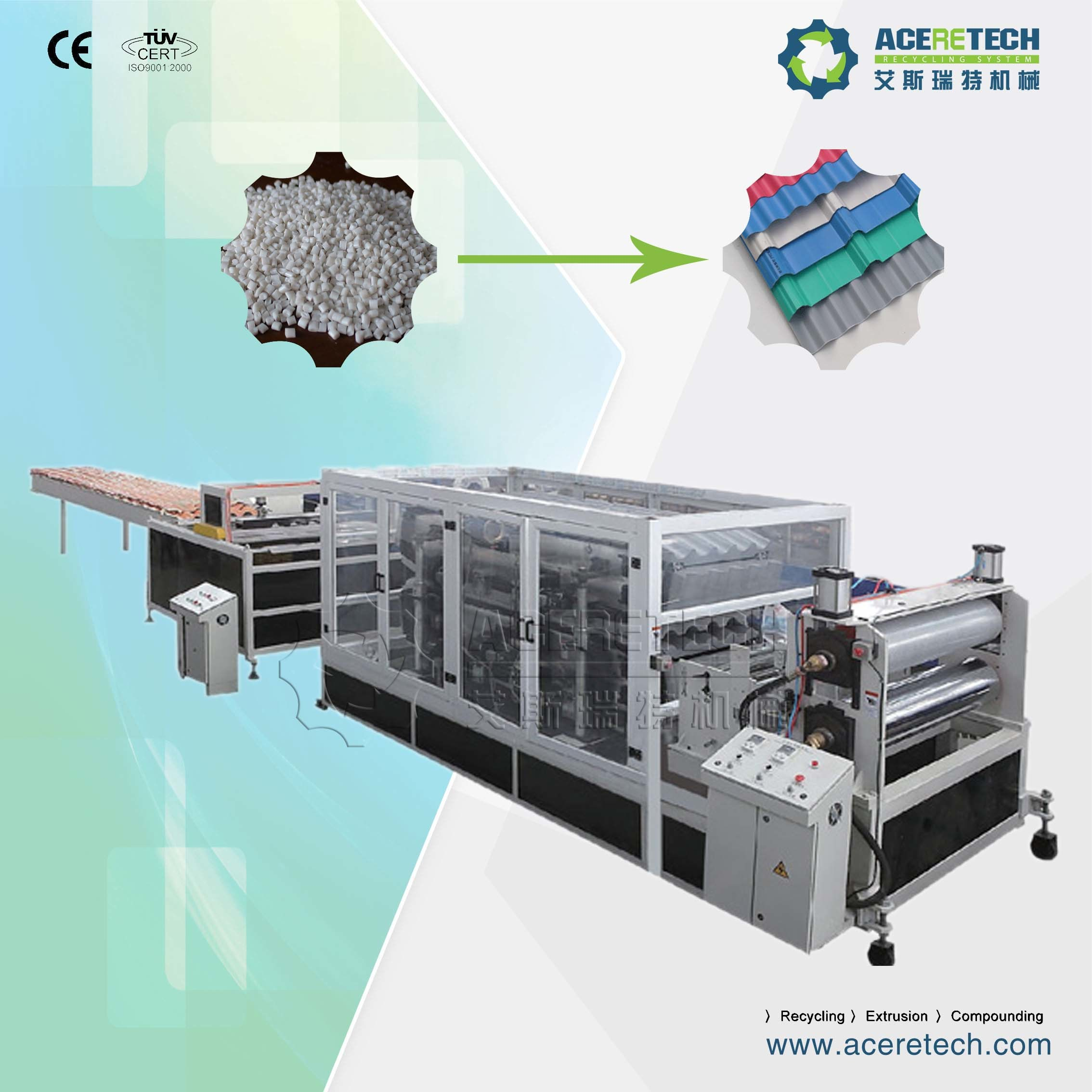 PVC Corrugated/Wave/Roof/Glazed/Colonial/Transparent/Translucent/ Tile Making/Extruding/Producing Machine