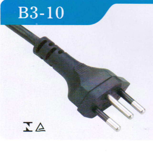 3pins Brazilian Power Cord with Inmetro Approval (B3-10)