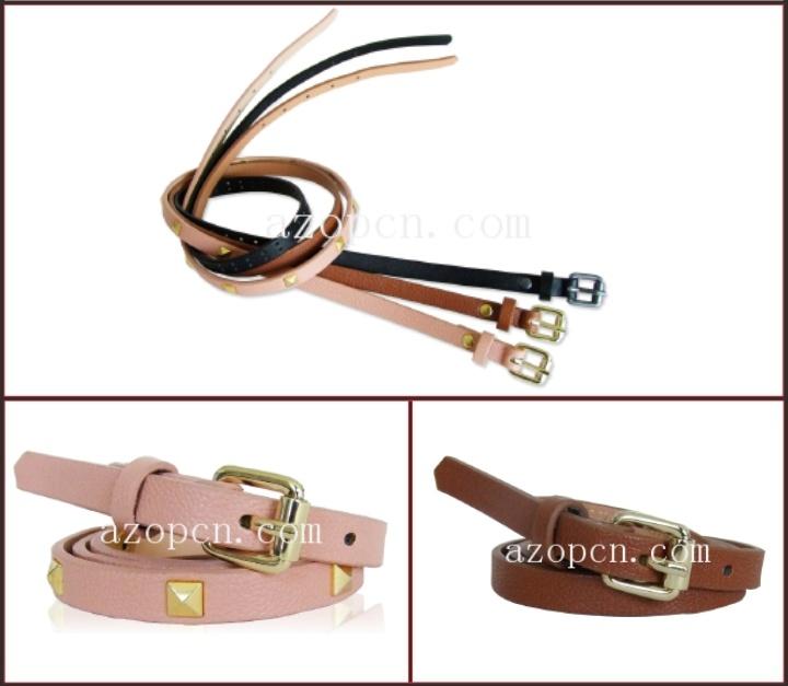 Lady′s PU Belt with Studs