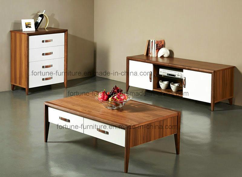 Modern Wooden Walnut & White Coffee Table (Camel 601)