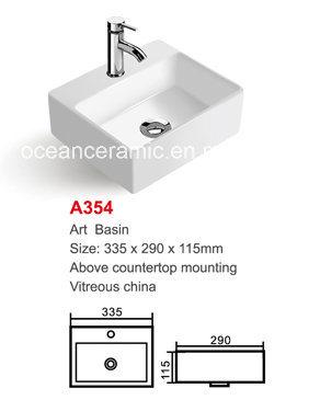 No. A354 Bathroom Sanitaryware Wash Sink 335mm