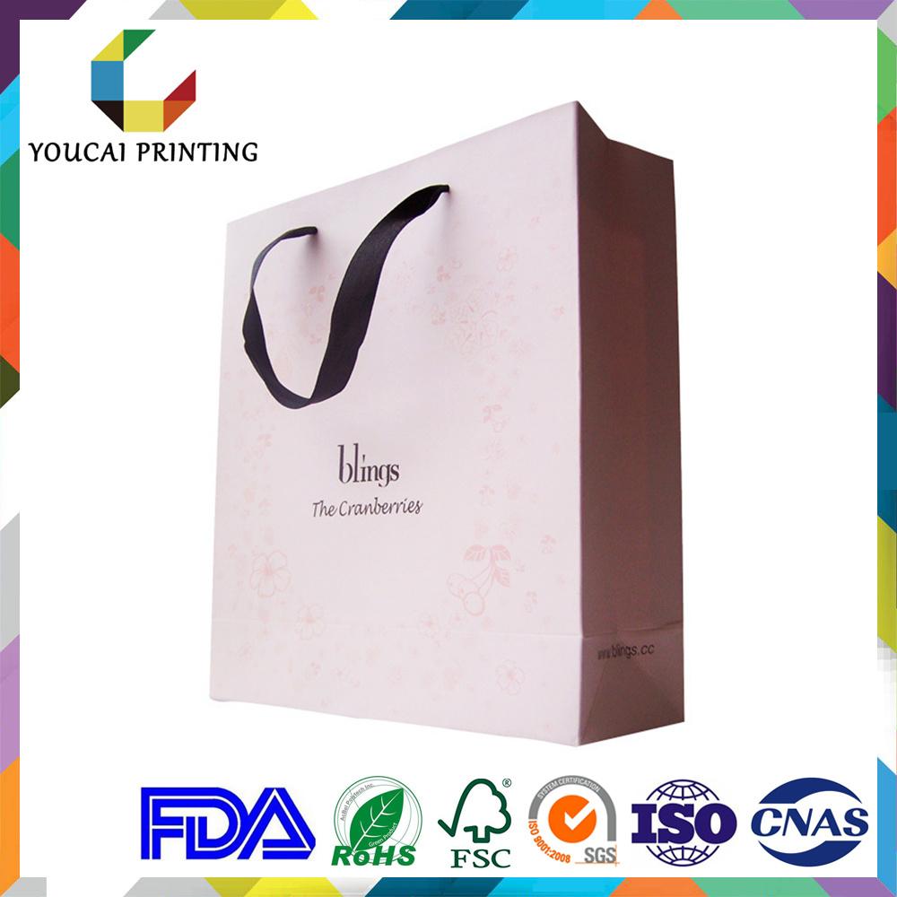 Coated Water Resistance Graceful Ladies Paper Tote Bag with Printing