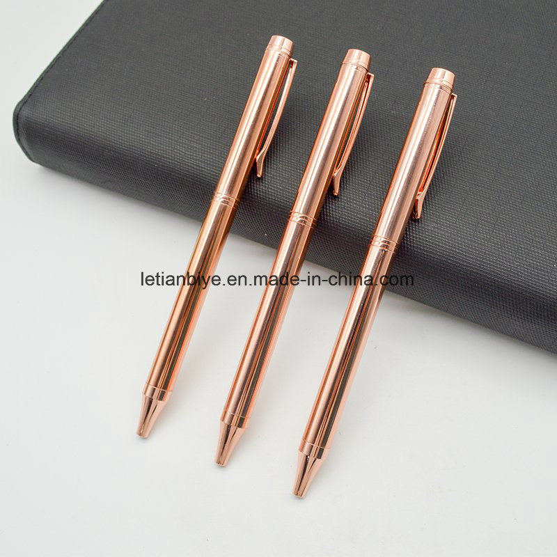 2017 New Arrival Rose Gold Metal Ball Pen.