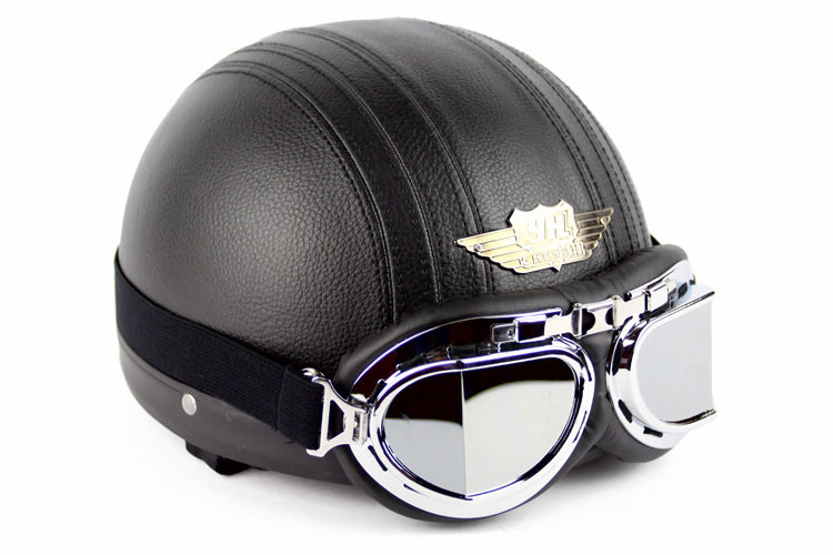 Motorcycle Helmet for Harley Bike Bicycle with Goggles Leather