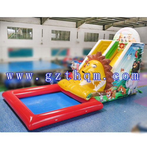 High Quality 0.55 mm PVC Commercial Grade Inflatable Water Slide with Pool