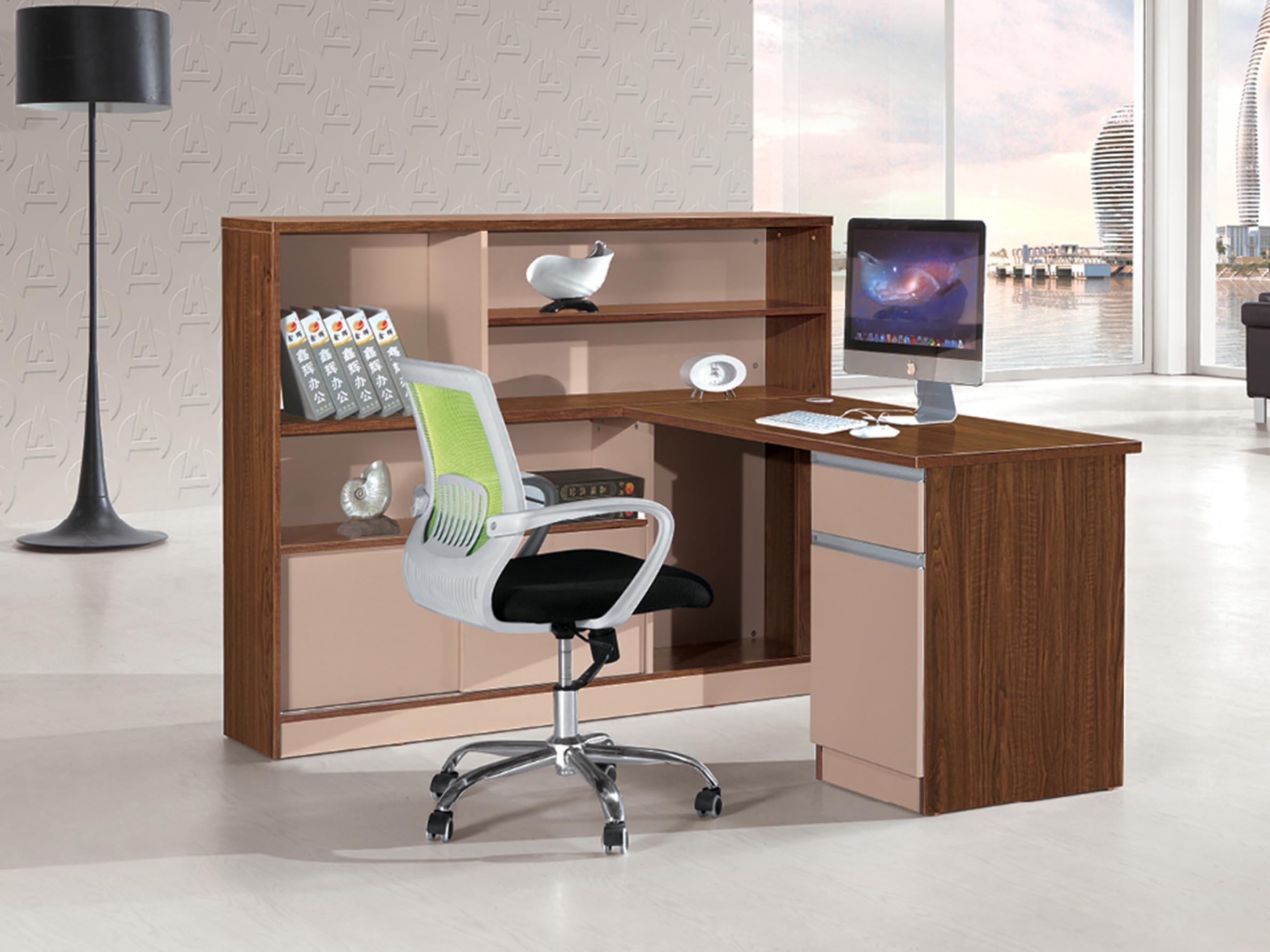 Modern Wood Furniture Office Computer Desk with Bookshelf