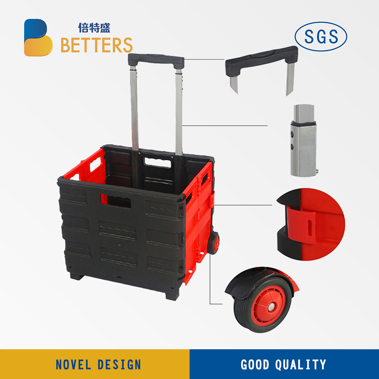 Plastic Folding Grocery Shopping Cart Made in Ningbo, China