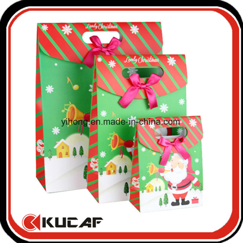 Custom Die Cut Handle Paper Gift Box with Ribbon Bow