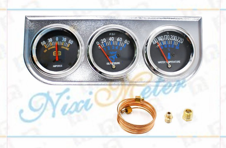 The Mechanical Triple Gauge with Voltmeter, Water Temperature Gauge and Oil Pressure Gauge