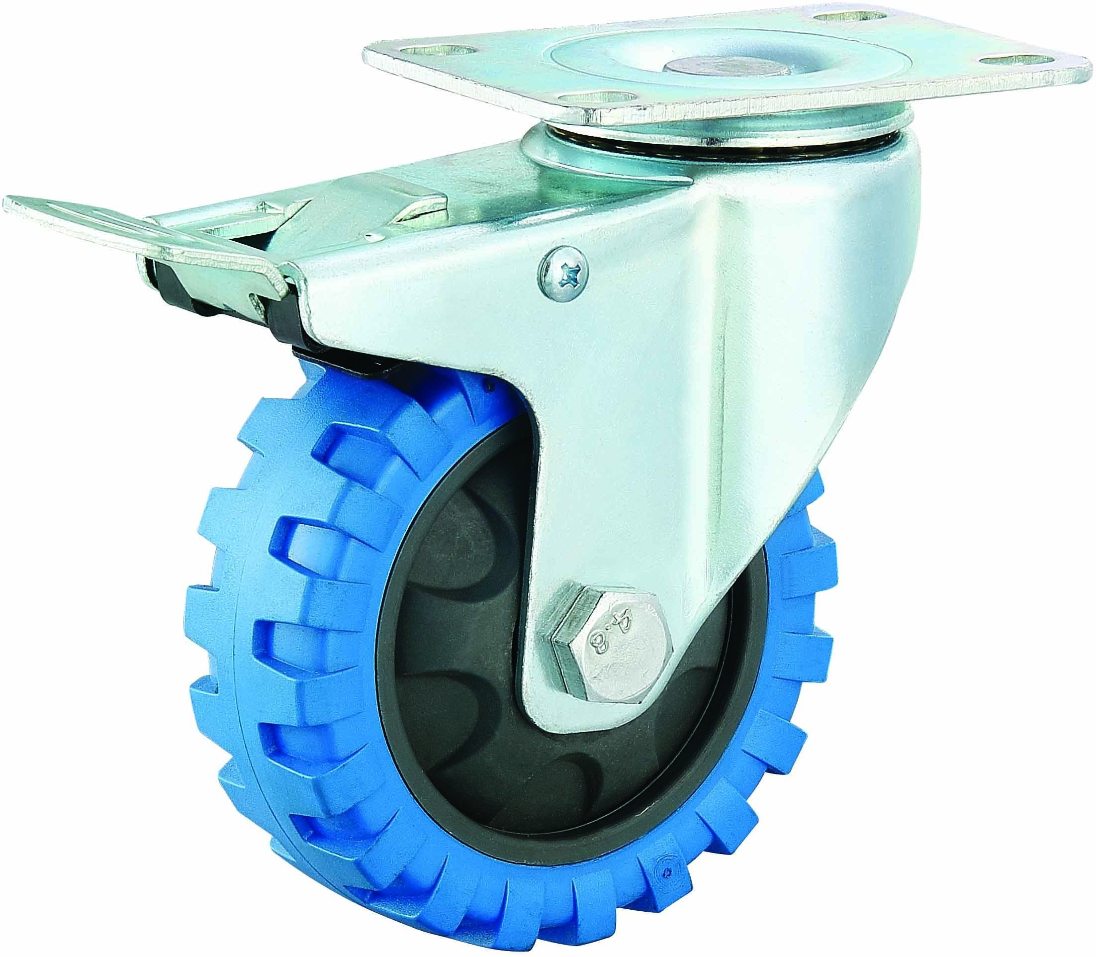 3/4/5 Inch Medium Duty PU Caster Blue Tyre Veins Fixed Castor Wheel