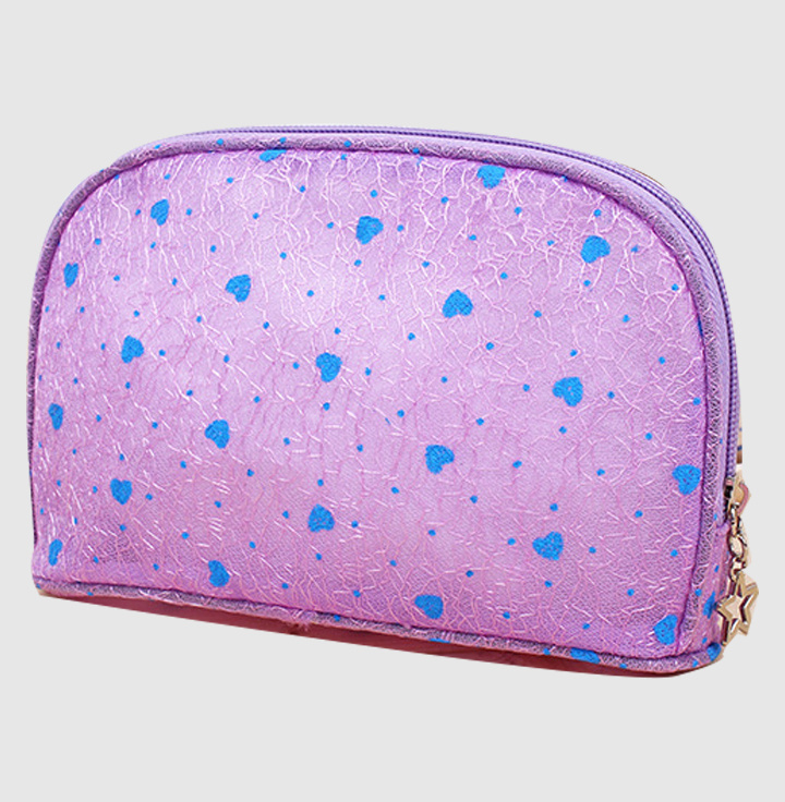 China Supplier Travel Pouch Bag Makeup Bag Heart Printed PVC Cosmetic Bag
