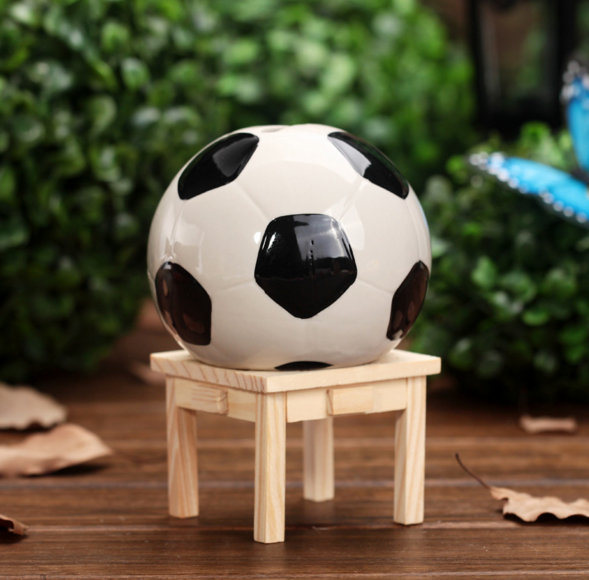 Football Fans Ball Shape Piggy Bank Money Box Sports Charm Soccer Ball Ceramics