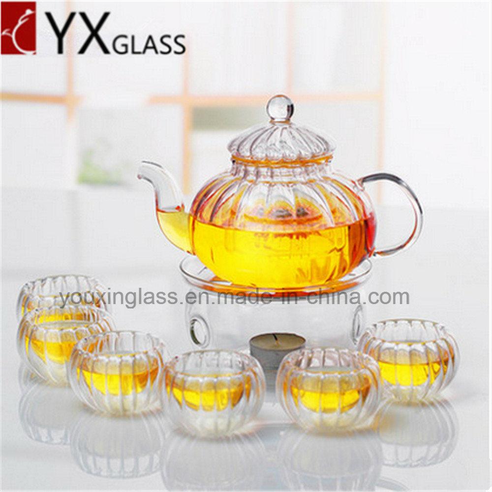 Borosilicate Glass Tea Pot with Glass Filter/Blooming Tea Pot Coffee Tea Set Pumpkin Teapot/Water Carafe 600ml