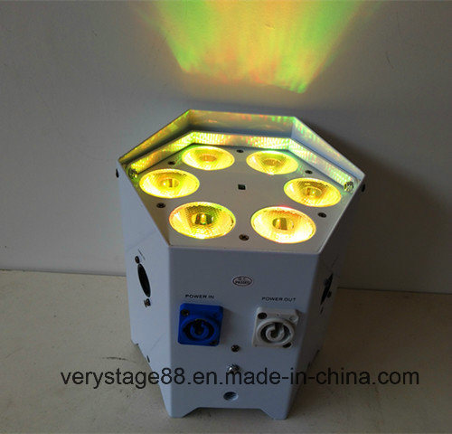 DJ Battery PAR Can 6X18W RGBWA UV 6 in 1 DMX Wireless IR LED Uplight
