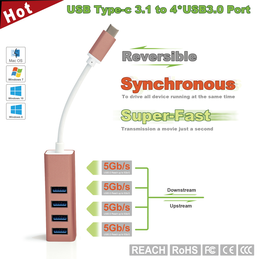 USB-C 3.1 to 4-Port USB3.0 Hub for MacBook 2016, Chromebook Pixel and Others USB Type-C Devices