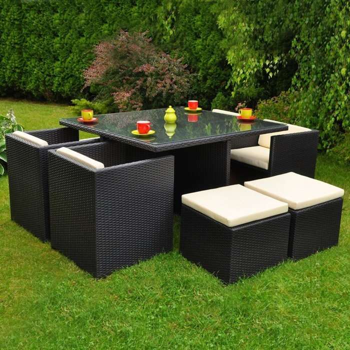 Elegant Outdoor Leisure Garden Furniture Wicker Rattan Dining Chair Table Set